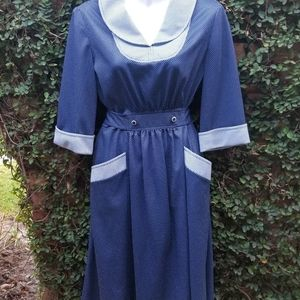 Vintage 50s/60s polyester knit dress S/M